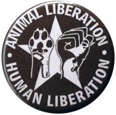 """Zum 37mm Button """"Animal Liberation - Human Liberation (mit Stern)"""" für 1,00 € gehen."""