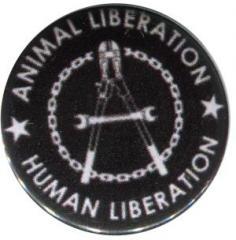 """Zum 37mm Button """"Animal Liberation - Human Liberation (Zange)"""" für 1,00 € gehen."""