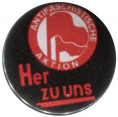 """Zum 37mm Button """"Antifaschistische Aktion her zu uns"""" für 0,97 € gehen."""