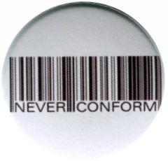 """Zum 37mm Button """"Barcode - Never conform"""" für 1,00 € gehen."""