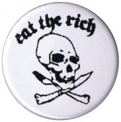 """Zum 37mm Button """"Eat the rich (Totenkopf)"""" für 0,97 € gehen."""