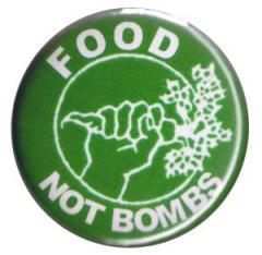 """Zum 37mm Button """"Food not bombs"""" für 1,00 € gehen."""