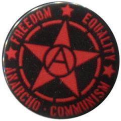 """Zum 37mm Button """"Freedom - Equality - Anarcho - Communism"""" für 1,00 € gehen."""