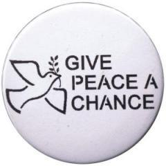 """Zum 37mm Button """"Give peace a chance"""" für 1,00 € gehen."""