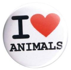 """Zum 37mm Button """"I love animals"""" für 0,97 € gehen."""