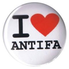 """Zum 37mm Button """"I love antifa"""" für 1,00 € gehen."""