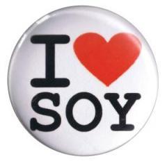 """Zum 37mm Button """"I love soy"""" für 1,00 € gehen."""