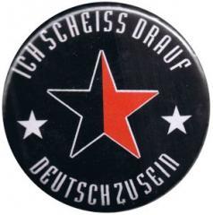 """Zum 37mm Button """"Ich scheiß drauf deutsch zu sein (schwarz/roter Stern)"""" für 0,97 € gehen."""