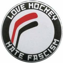 """Zum 37mm Button """"Love Hockey Hate Fascism"""" für 1,00 € gehen."""