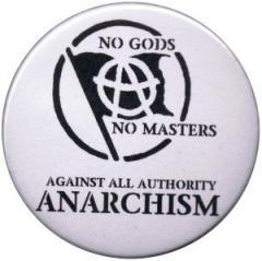 """Zum 37mm Button """"no gods no master - against all authority - ANARCHISM"""" für 0,97 € gehen."""