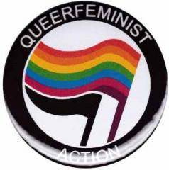 """Zum 37mm Button """"Queerfeminist Action"""" für 0,97 € gehen."""