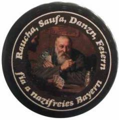 """Zum 37mm Button """"Raucha Saufa Danzn Feiern fia a nazifreies Bayern (Kartenspieler)"""" für 1,20 € gehen."""