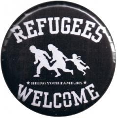 """Zum 37mm Button """"refugees welcome (weiß)"""" für 0,97 € gehen."""