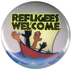 """Zum 37mm Button """"Refugees welcome"""" für 1,00 € gehen."""