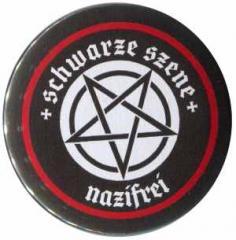 """Zum 37mm Button """"Schwarze Szene Nazifrei - Weisses Pentagramm"""" für 1,50 € gehen."""