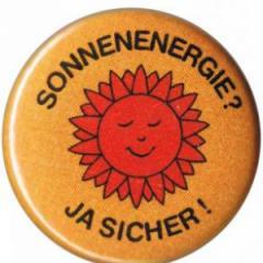 """Zum 37mm Button """"Sonnenenergie? Ja sicher!"""" für 1,00 € gehen."""