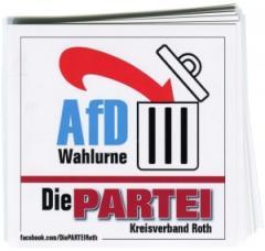 """Zum Aufkleber-Paket """"AfD Wahlurne (mit PARTEI-Unterstützungsbeitrag)"""" für 3,90 € gehen."""