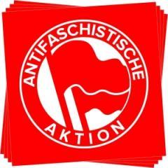 """Zum Aufkleber-Paket """"Antifaschistische Aktion (1932, rot/rot)"""" für 1,80 € gehen."""