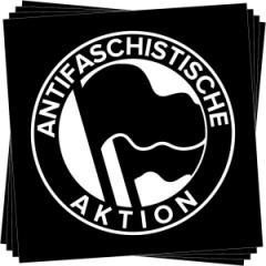"""Zum Aufkleber-Paket """"Antifaschistische Aktion (1932, schwarz/schwarz)"""" für 1,80 € gehen."""