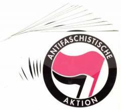"""Zum Aufkleber-Paket """"Antifaschistische Aktion (pink/schwarz)"""" für 1,80 € gehen."""
