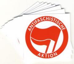 """Zum Aufkleber-Paket """"Antifaschistische Aktion (rot/rot)"""" für 1,75 € gehen."""
