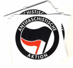 """Zum Aufkleber-Paket """"Antifaschistische Aktion (schwarz/rot)"""" für 1,60 € gehen."""