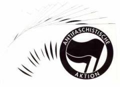 """Zum Aufkleber-Paket """"Antifaschistische Aktion (schwarz/schwarz)"""" für 1,80 € gehen."""