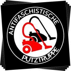 """Zum Aufkleber-Paket """"Antifaschistische Putztruppe"""" für 1,80 € gehen."""