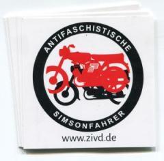 """Zum Aufkleber-Paket """"Antifaschistische Simsonfahrer"""" für 1,95 € gehen."""