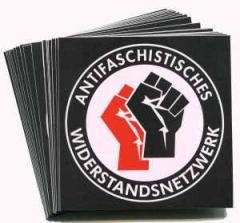 """Zum Aufkleber-Paket """"Antifaschistisches Widerstandsnetzwerk - Fäuste (rot/schwarz)"""" für 2,00 € gehen."""