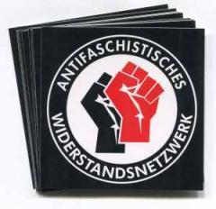 """Zum Aufkleber-Paket """"Antifaschistisches Widerstandsnetzwerk - Fäuste (schwarz/rot)),"""" für 2,00 € gehen."""