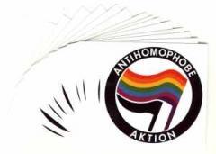 """Zum Aufkleber-Paket """"Antihomophobe Aktion"""" für 1,75 € gehen."""