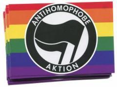 """Zum Aufkleber-Paket """"Antihomophobe Aktion (schwarz/schwarz)"""" für 1,80 € gehen."""