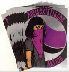 """Zum Aufkleber-Paket """"Antisexistische Aktion"""" für 3,20 € gehen."""