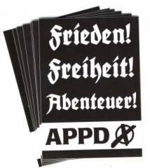 """Zum Aufkleber-Paket """"APPD - Frieden! Freiheit! Abenteuer!"""" für 1,80 € gehen."""