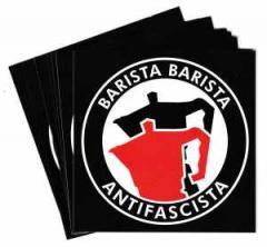 """Zum Aufkleber-Paket """"Barista Barista Antifascista (Moka)"""" für 1,75 € gehen."""