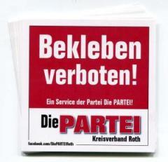 """Zum Aufkleber-Paket """"Bekleben verboten! (mit PARTEI-Unterstützungsbeitrag)"""" für 4,00 € gehen."""