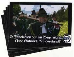 """Zum Aufkleber-Paket """"D' Faschisten san im Bayernland."""" für 1,70 € gehen."""