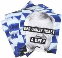 """Zum Aufkleber-Paket """"Der ganze Horst a Depp"""" für 1,80 € gehen."""