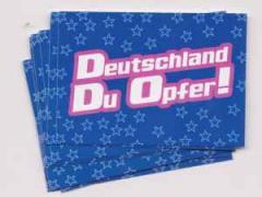 """Zum Aufkleber-Paket """"Deutschland Du Opfer! - blau"""" für 1,75 € gehen."""