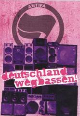 """Zum Aufkleber-Paket """"Deutschland Wegbassen!"""" für 1,75 € gehen."""