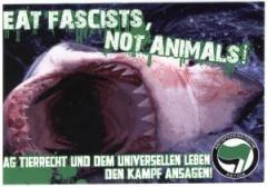 """Zum Aufkleber-Paket """"Eat Fascists, Not Animals!"""" für 1,60 € gehen."""