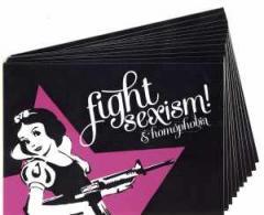 """Zum Aufkleber-Paket """"Fight Sexism and Homophobia"""" für 1,75 € gehen."""