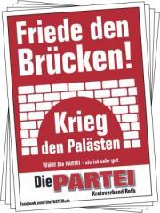 """Zum Aufkleber-Paket """"Friede den Brücken! Krieg den Palästen."""" für 2,50 € gehen."""