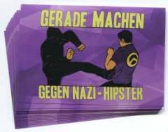 """Zum Aufkleber-Paket """"Gerade machen gegen Nazi-Hipster"""" für 1,80 € gehen."""