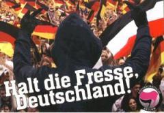 """Zum Aufkleber-Paket """"Halt die Fresse, Deutschland!"""" für 1,75 € gehen."""