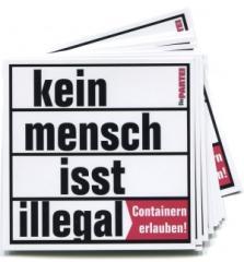 """Zum Aufkleber-Paket """"Kein Mensch isst illegal"""" für 2,50 € gehen."""