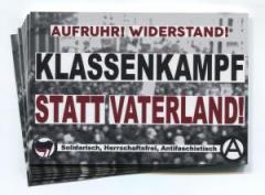"""Zum Aufkleber-Paket """"Klassenkampf statt Vaterland!"""" für 1,75 € gehen."""