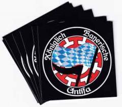 """Zum Aufkleber-Paket """"Königlich Bayerische Antifa Mühldorf"""" für 1,99 € gehen."""