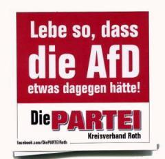 """Zum Aufkleber-Paket """"Lebe so, dass die AfD etwas dagegen hätte! (mit PARTEI-Unterstützungsbeitrag)"""" für 3,90 € gehen."""